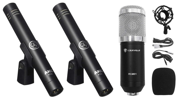 (2) AKG P170 Studio Pencil Microphones Instrument Drum Microphones+Condenser Mic (2) P170+RCM01