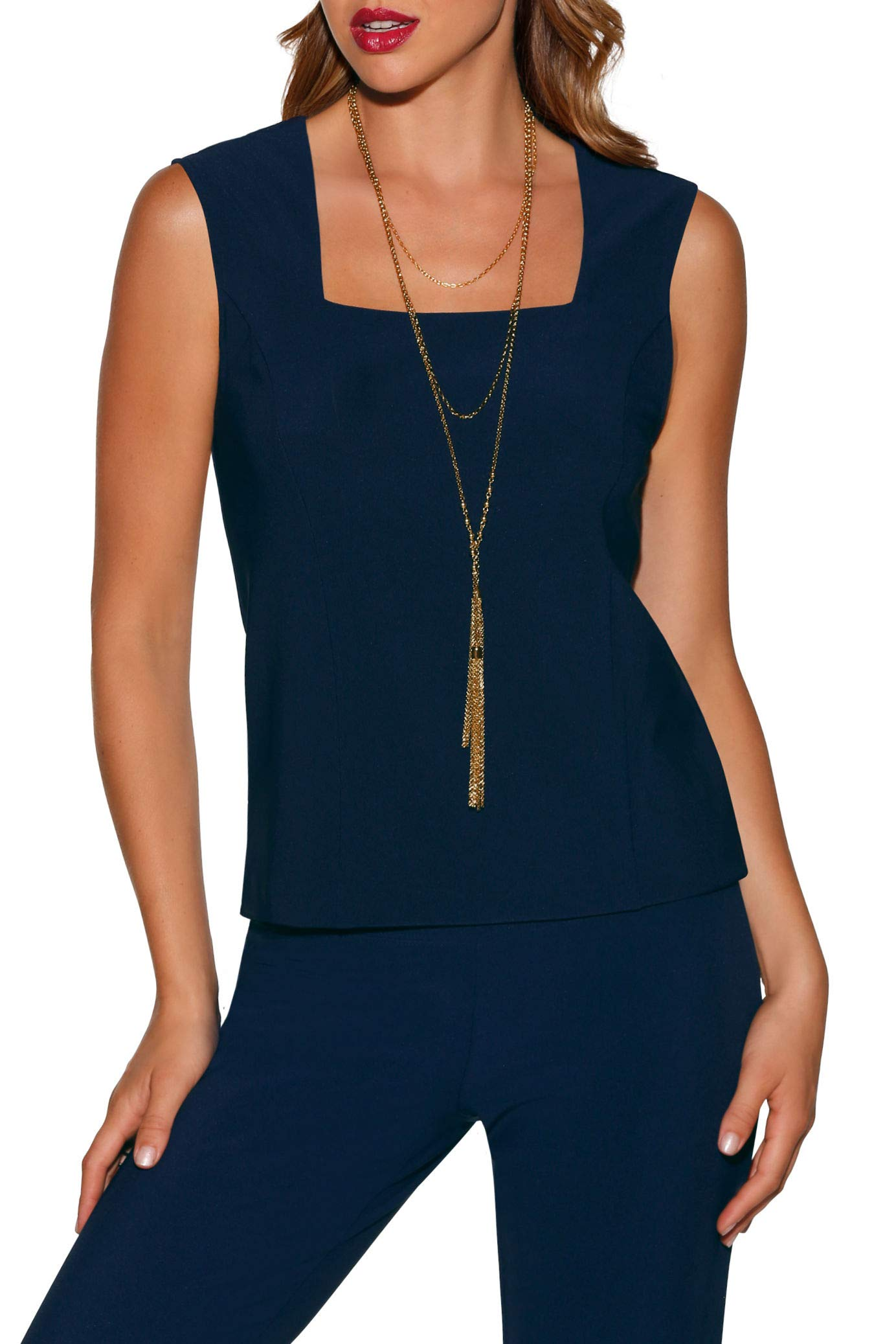 Beyond Travel Women's Wrinkle-Resistant Basic Sleeveless Cropped Solid Color Knit Shell Top Maritime Navy Medium