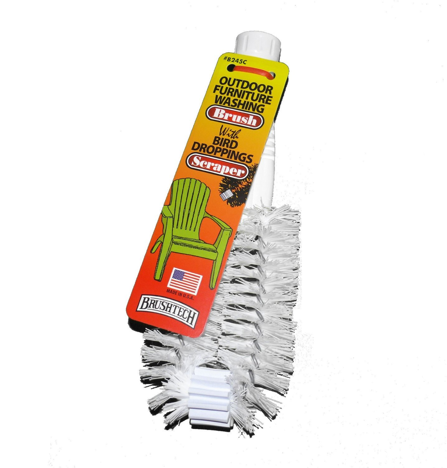 Brushtech Outdoor Washing Brush with Bird Droppings Scraper