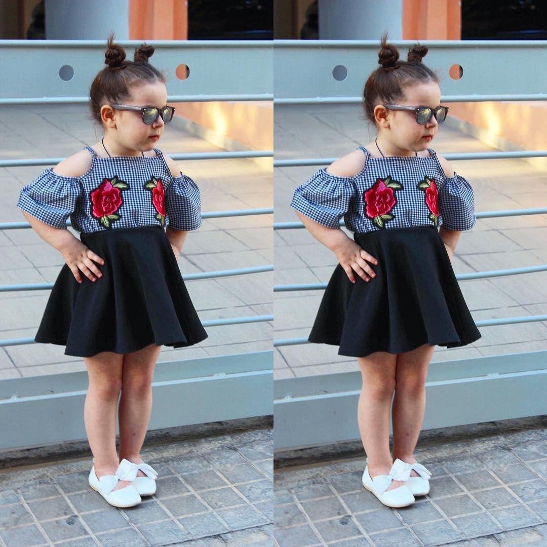 turuste 2PCS Toddler Girls Dress Embroidery Flower Lattice Short Sleeve Tops Skirt Outfits Clothes Summer Sets