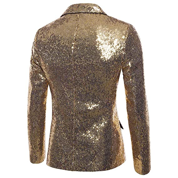 Amazon.com: Charm Mens Shining Suit for Host One Button Blazer Coat Jacket Sequin Party Cocktail: Clothing