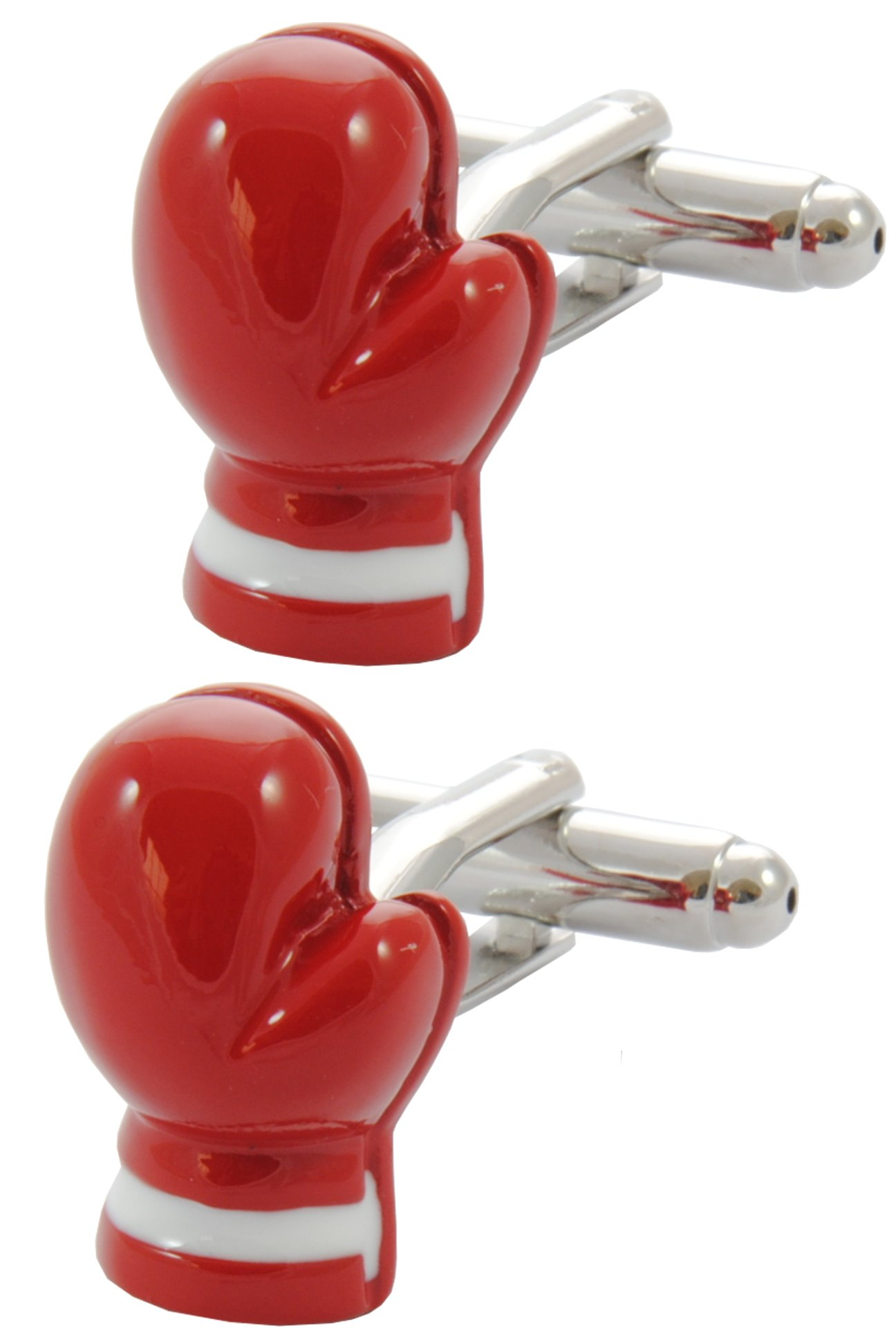COLLAR AND CUFFS LONDON - Premium Cufflinks with Gift Box - Boxing Glove - Sport Ring Fight Referee Punch - Red Colour