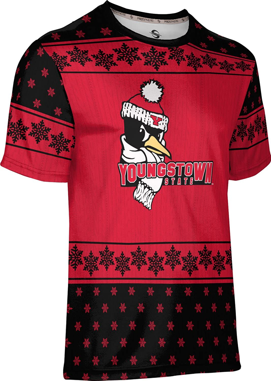 Youngstown State University Ugly Holiday Mens Performance T-Shirt Snowflake