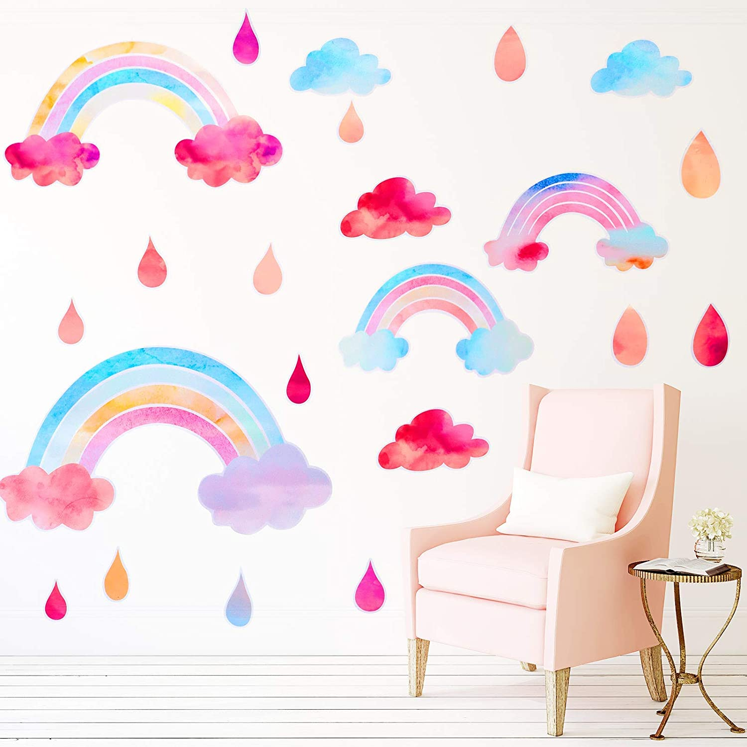 BOWINR Rainbow Wall Decals Cloud Wall Decals Watercolor Raindrop Wall Stickers Peel&Stick Wall Sticker Kids Decals for Walls