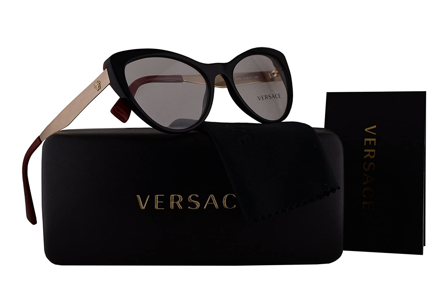 bf3b2fb3a8a7 Amazon.com  Versace VE3244 Eyeglasses 51-17-140 Black w Demo Clear Lens 5239  VE 3244  Clothing
