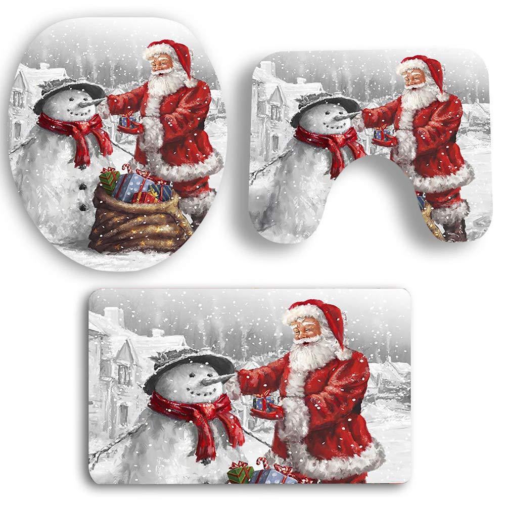 BONNIO 3 Pezzi Babbo Natale e Pupazzo di Neve Coprivaso e Decorazioni per Il Bagno Set da Bagno