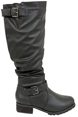 df5ed52c12a51 Yours Clothing Wide Fit Women s Knee High Biker Boot With Buckles In Eee Fit  Size 9EEE