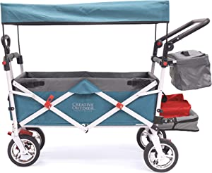 Creative Outdoor Push Pull Collapsible Folding Wagon Stroller Cart for Kids   Silver Series   Beach Park Garden & Tailgate   Teal