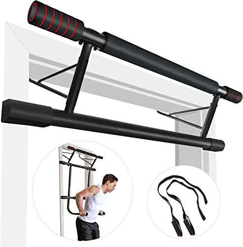 Pull Up Bar Doorway,Strength Training Chin Up Bars, 4 in 1 Doorway Trainer Exercise Bars,Fitness Chin-Up Frame Dips Bar Power Ropes Ergonomic Grip Workout Trainer for Home Gym Exercise.IDEER LIFE