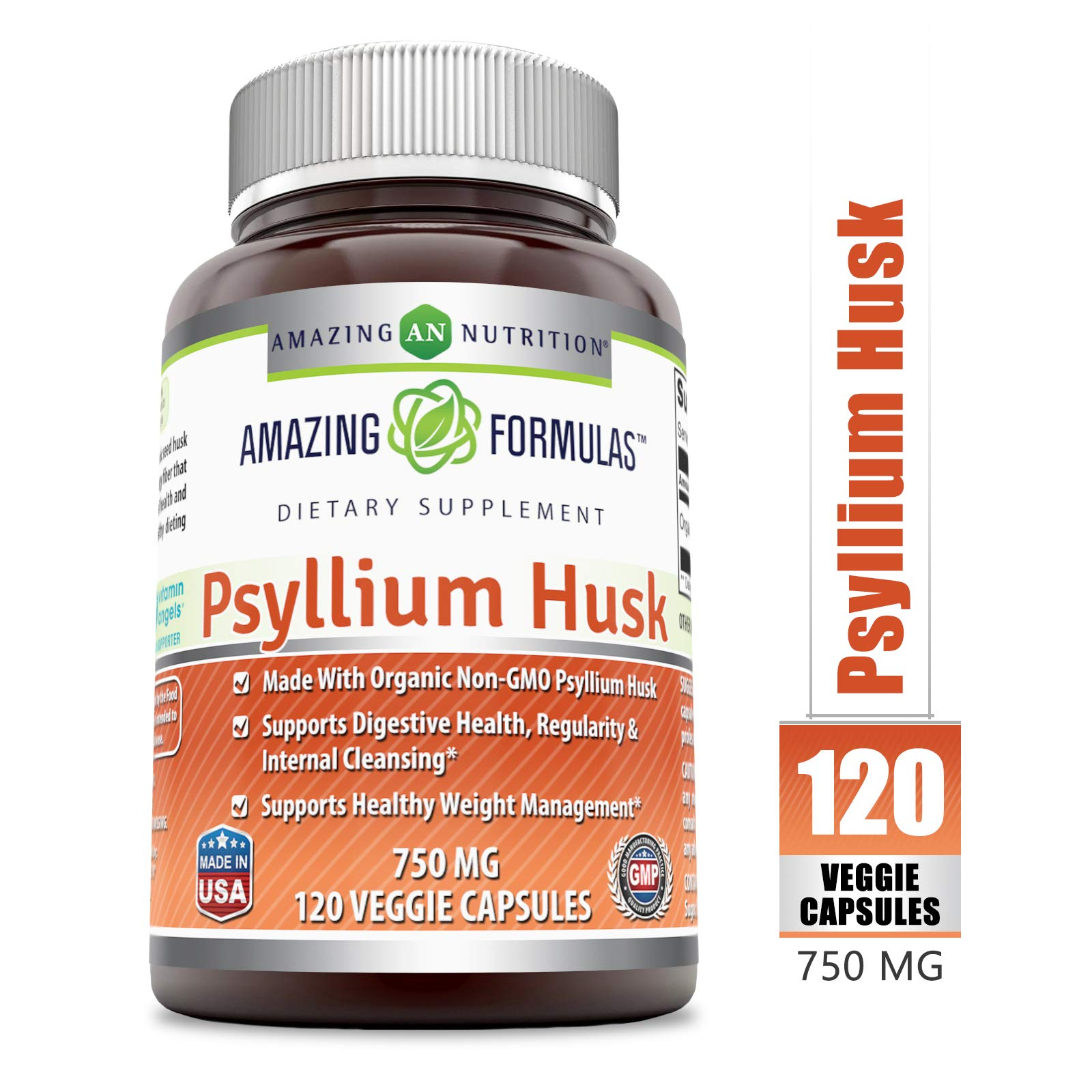 Amazing Formulas Psyllium Husk - 750 Mg, 120 Veggie Capsules - Made with Organic (Non-GMO) Psyllium Husk - Supports Digestive Health, Regularity & Internal Cleansing - Supports Healthy Weight Mana by Amazing Nutrition