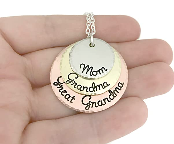 amazon com mom grandma great grandma necklace hammered