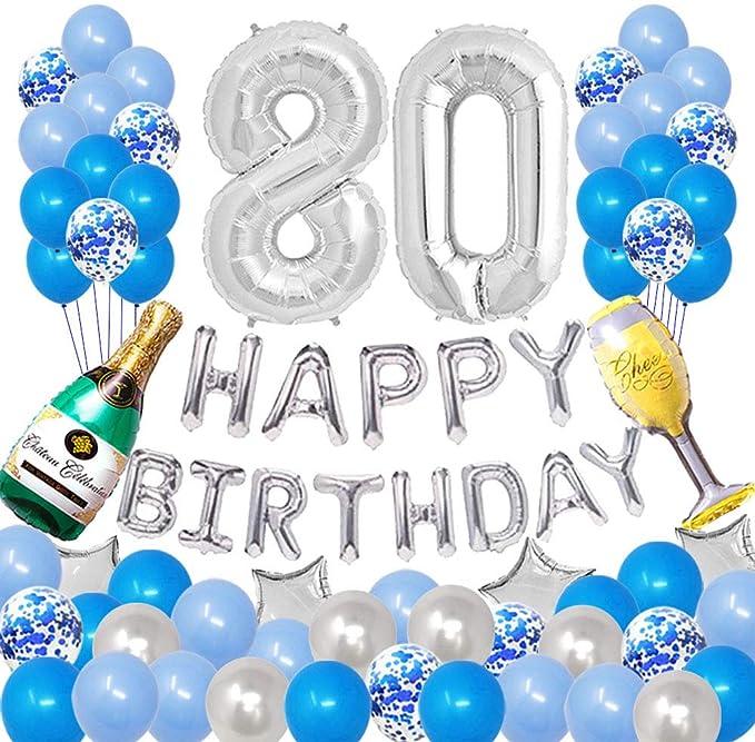 Blue Age 80 Party Birthday Banner Glitz 80th Birthday