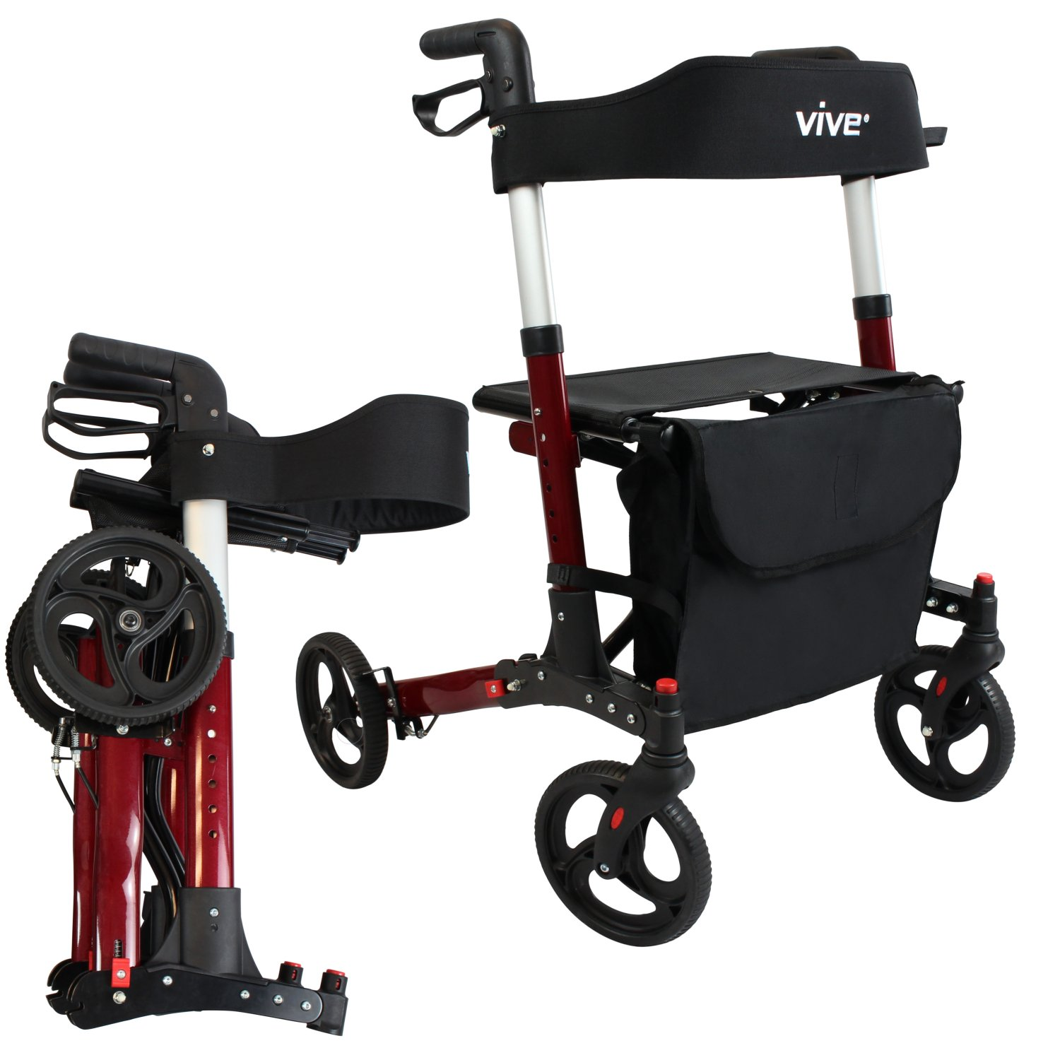 Folding Rollator Walker by Vive - 4 Wheel Medical Rolling Walker ...