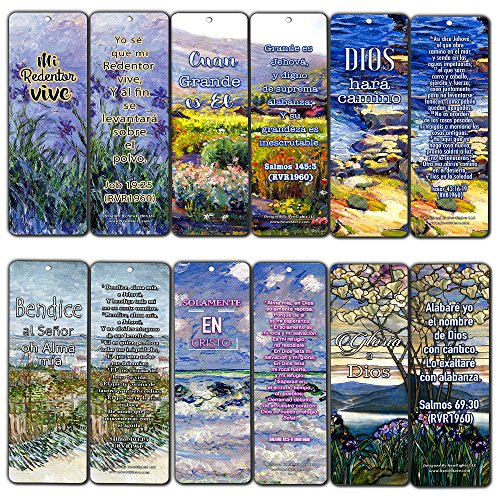 Spanish Christian Bookmarks (12-Pack) - in Christ Alone - Gift Ideas for Sunday School, Youth Group, Church Camp, Bible Study - Easter Day, Thanksgiving, Christmas - Prayer Cards