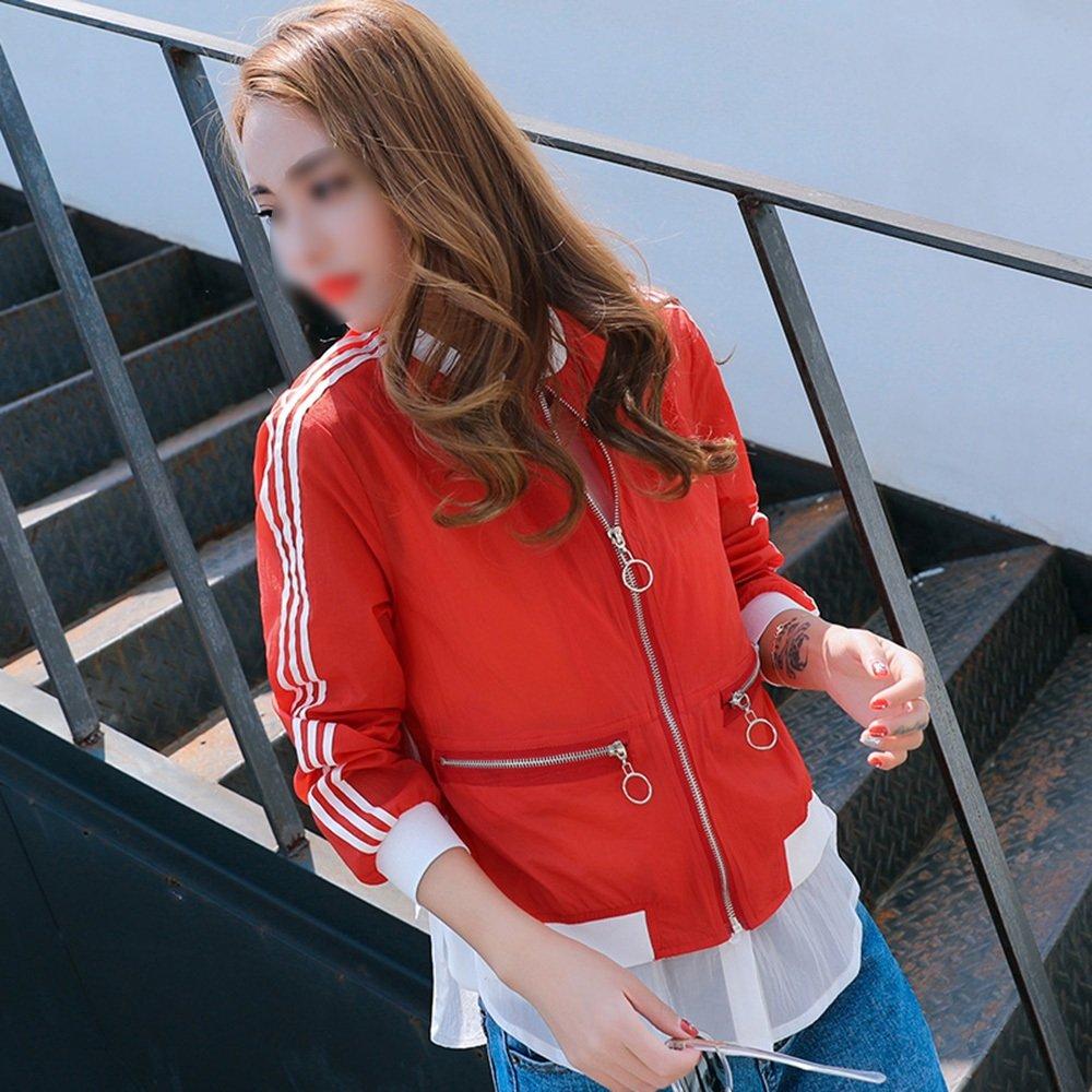 Huifang capa Acolchado Sección Larga Larga Larga Femenina Protección Solar Delgada Ropa/Verano Anti-UV/Suelto Empalme Camisa de protección contra inundaciones/Rebeca al Aire Libre de Moda (3 Colores Disponibles) 9b4982