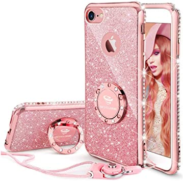 OCYCLONE Fundas iPhone 6s Plus,Ultra Slim Soft TPU Purpurina Fundas Movil con Diamantes Glitter Anillo Protectora Apple iPhone 6 Plus,iPhone 6s Plus para Mujer- Oro Rosa: Amazon.es: Electrónica