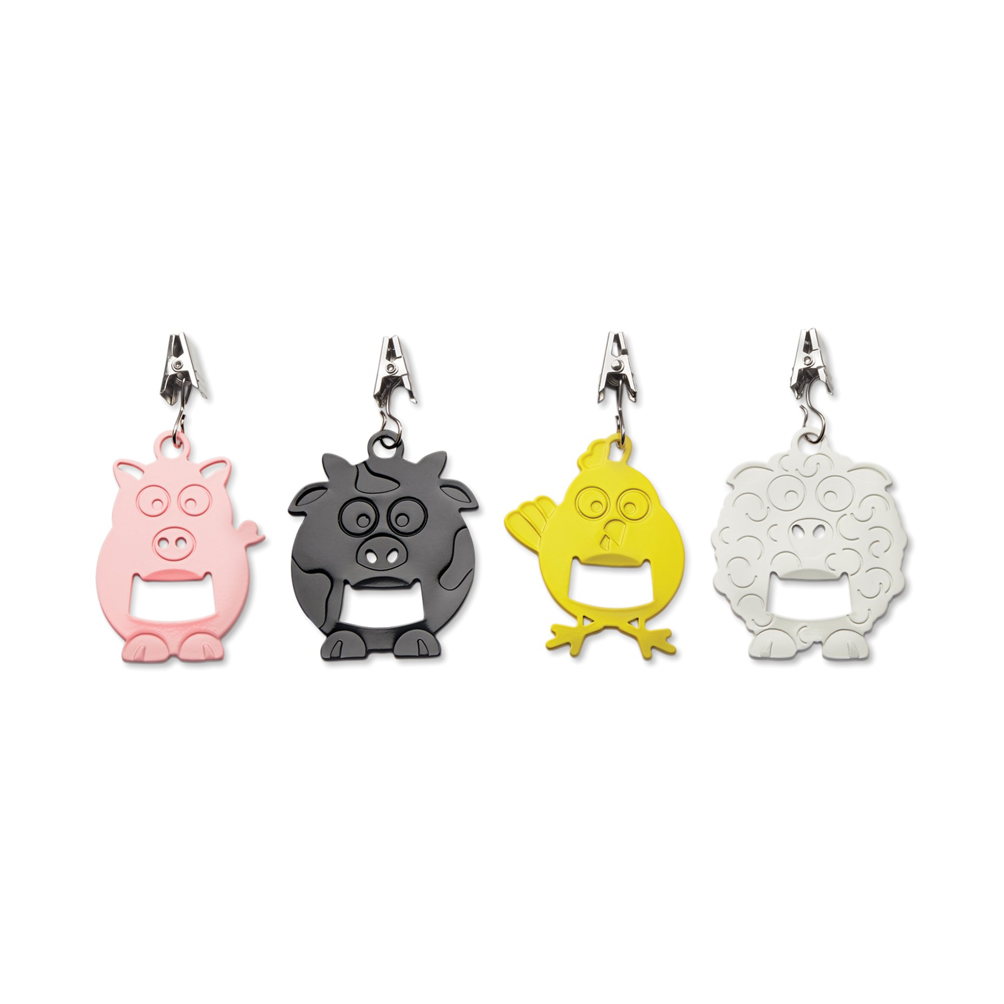 Outset 76220 Tablecloth Weights with Bottle Opener, Barnyard Animals, Set of 4
