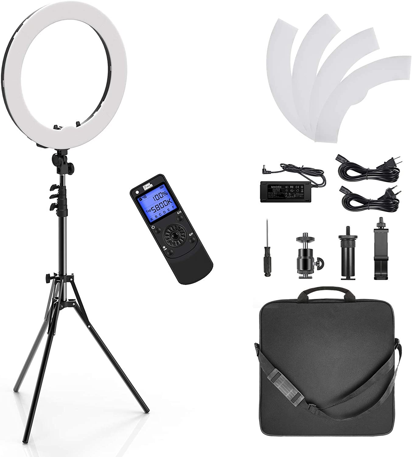 Upgrade Version 55W 3000-5800K Dimmable Circle LED Light with Stand for Camera Designed with 2.1 inch LCD Screen /& Portable Carring Bag PIXEL 19 inch Ring Light Youtube Selfie Makeup Videos