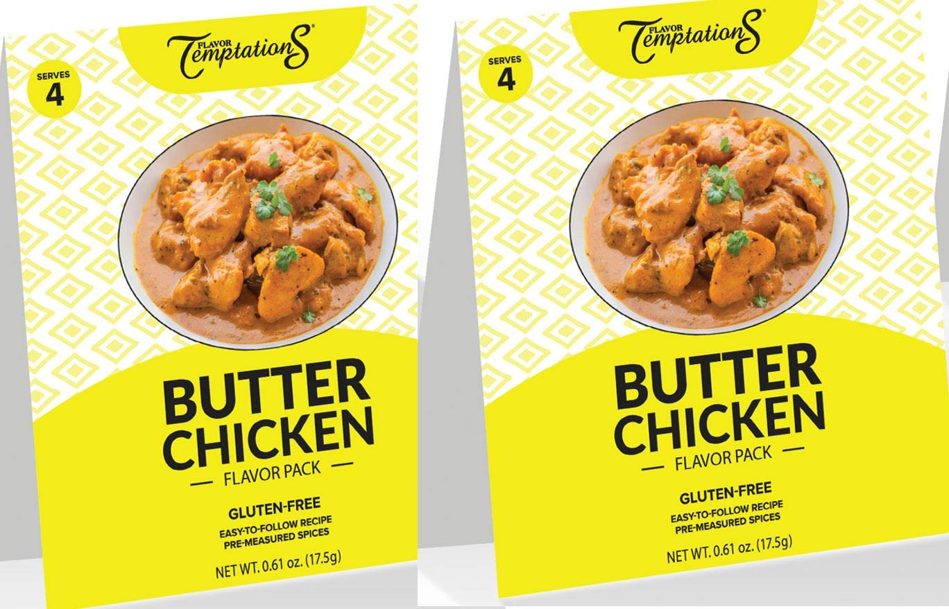 8-SERVING Indian Spice Set for Butter Chicken by Flavor Temptations, Cook from Scratch Indian Food for Beginners, Gluten-Free, Salt-Free