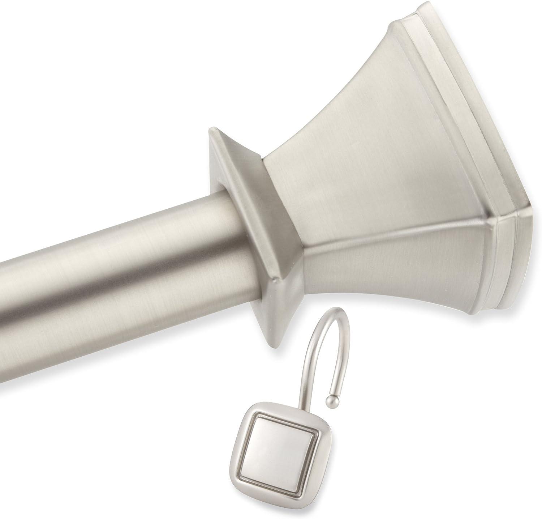 Elegant Home Fashion Square Decorative Shower Curtain Rod and Hooks Set, Brush Nickel,44-72 inches