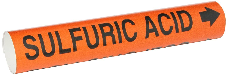 Brady 4368-C Black on Orange Snap-On Pipe Marker Legend Sulfuric Acid Legend Sulfuric Acid