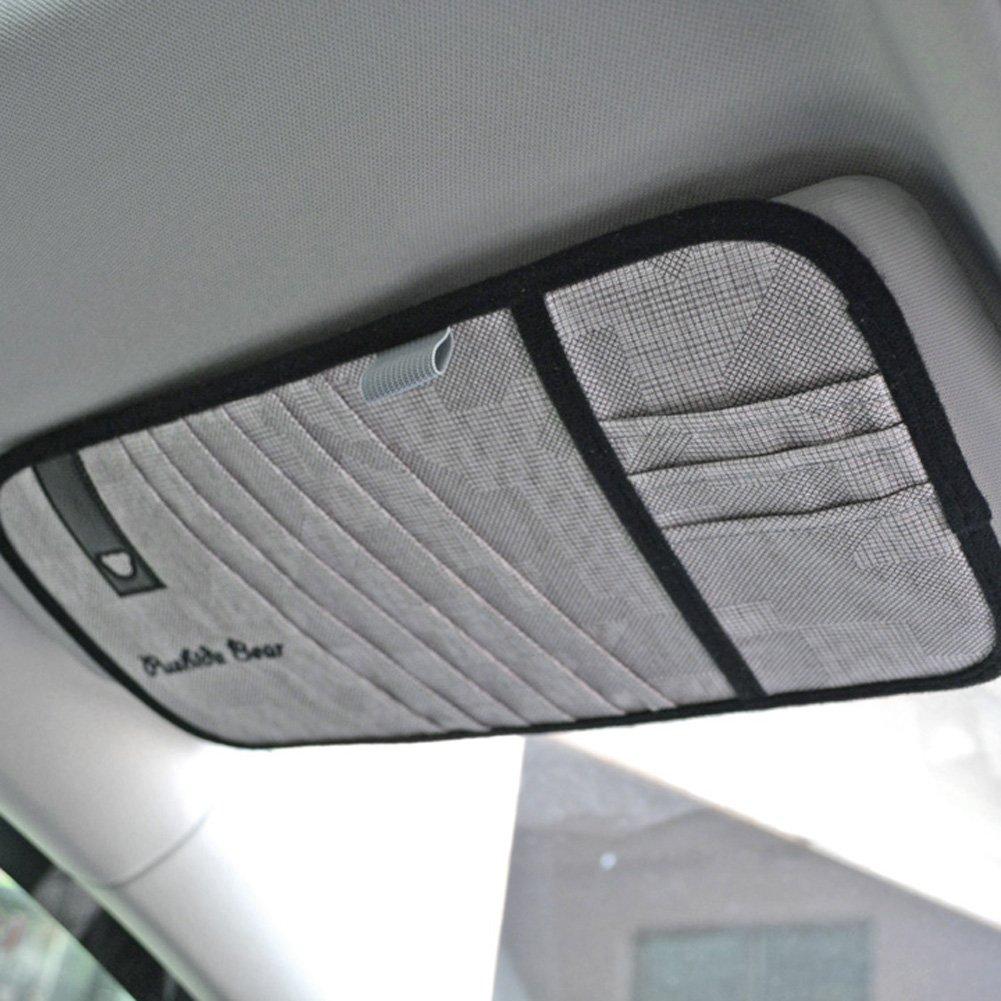 Tianmei Simple Fasion Styling SunVisor CD Holder Car visor DVD Storage Organizer Bag (Linen - Color Gray)