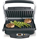 Hamilton Beach Steak Lover's Electric Indoor Searing Grill, Nonstick 100 Square, Stainless Steel (25331), Black and Stainless
