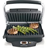 Hamilton Beach Steak Lover's Electric Indoor Searing Grill, Nonstick 100 Square, Stainless Steel (25331)