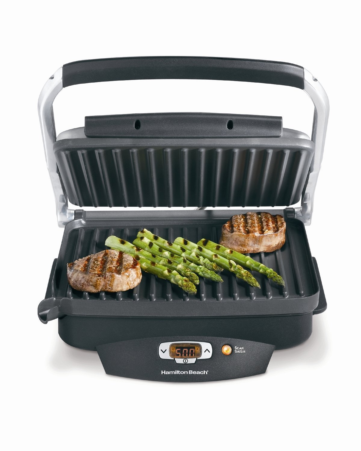 Hamilton Beach Steak Lover's Electric Digital Indoor Searing Grill, Panini Press and Sandwich Maker, Reaches up to 500 Degrees, Nonstick 100 Square Inch Large Surface (25331) by Hamilton Beach