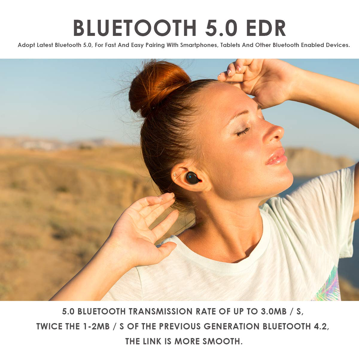 HOMVILLA Auricolari Bluetooth Cuffie Senza Fili, Wireless Stereo Sportivi in Ear Cuffie, Auricolari Bluetooth Playtime V5.0 60H Cuffie Wireless, Bassi Stereo Profondi Cuffie in-ear TWS per Android iOS