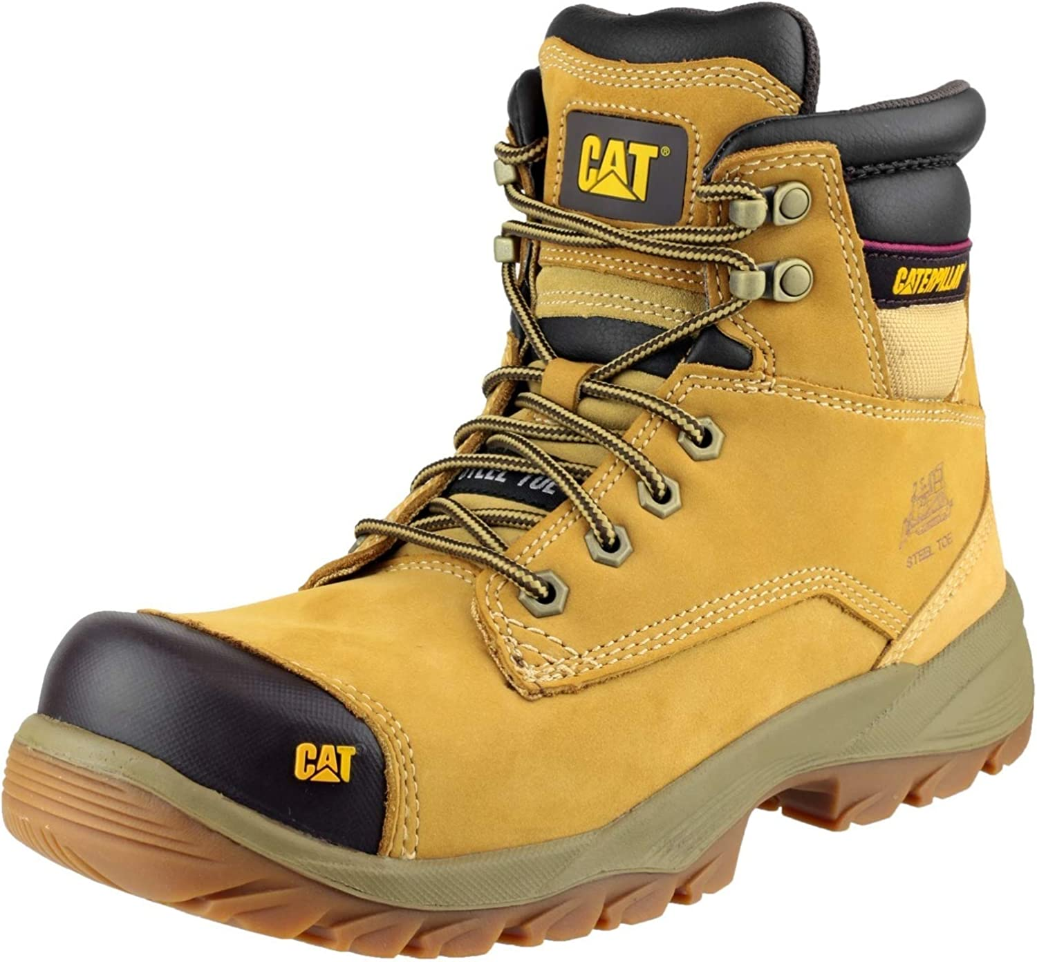 Safety Toe Leather Work Boots Honey