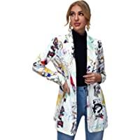 Floerns Women's Long Sleeve Lapel Button Pop Art Print Work Office Blazer