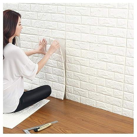 3D Ziegelstein Tapete, Selbstklebend Brick Muster Tapete, Fototapete~Wandaufkleber für Schlafzimmer Wohnzimmer moderne tv sch