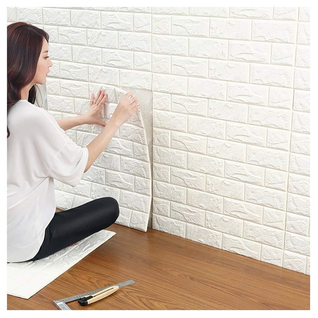 10Pcs 60*60cm 3D Tile Brick Wall Sticker Self-adhesive Waterproof Foam Panel