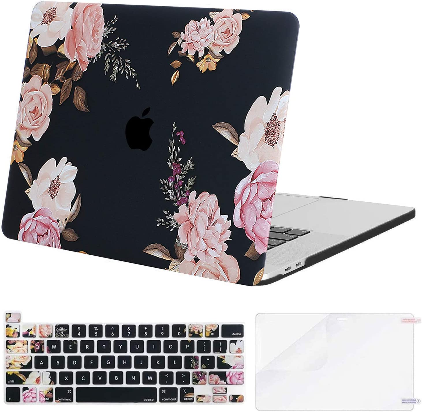 MOSISO MacBook Pro 16 inch Case 2020 2019 Release A2141, Plastic Peony Hard Shell Case & Keyboard Cover Skin & Screen Protector Compatible with MacBook Pro 16 inch with Touch Bar, Black