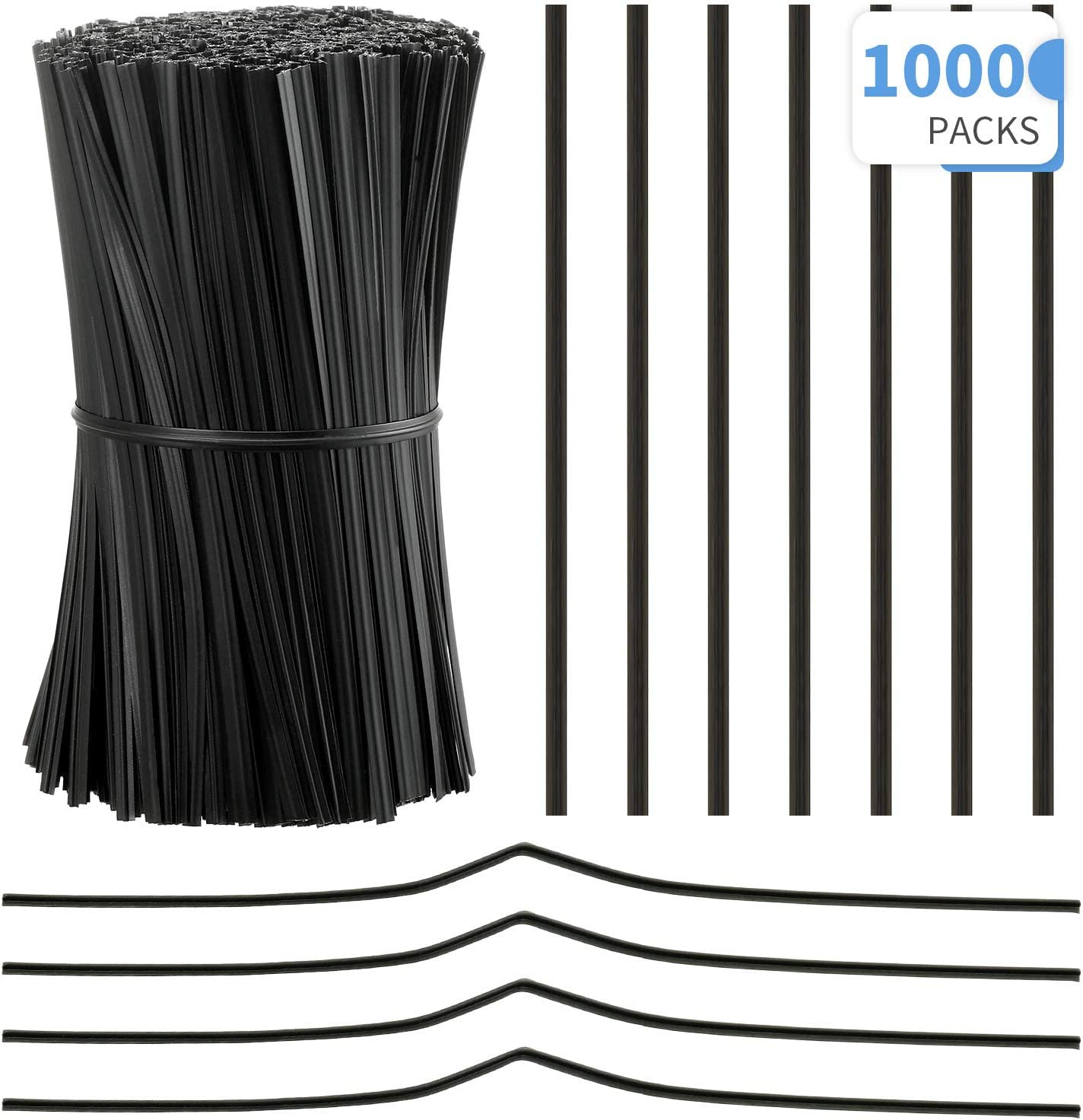 1000 Pieces Plastic Coated Twist Ties Twist Cord Wire Cable Ties Reusable Nose Bridge Strips for Party Cello Candy Bread Bags Cake Pops Black 3.9 Inch Length
