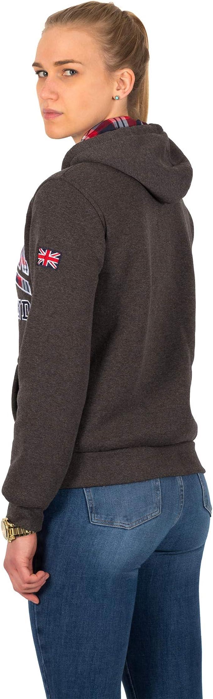 Donna Londra Inghilterra Ladies Ekose Stile Union Jack Souvenir Felpe con Cappuccio Maniche Lunghe Zip Felpa con Cappuccio