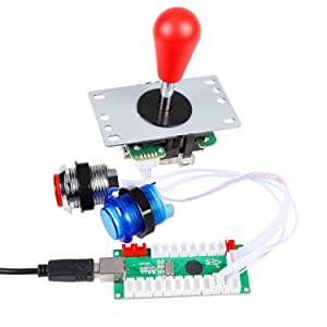 Avisiri 2 Player led Arcade Buttons and Joystick DIY kit 2X joysticks + 20x led Arcade Buttons Game Controller kit for Windows and MAME and Raspberry Pi (Mix-Colors-Kits) (Color: Mix-Colors-Kits)