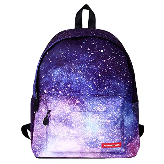 abf9bc60495b Amint Women s Backpack Teenager s Bookbag Travel Rucksack Starry Sky Print  Purple