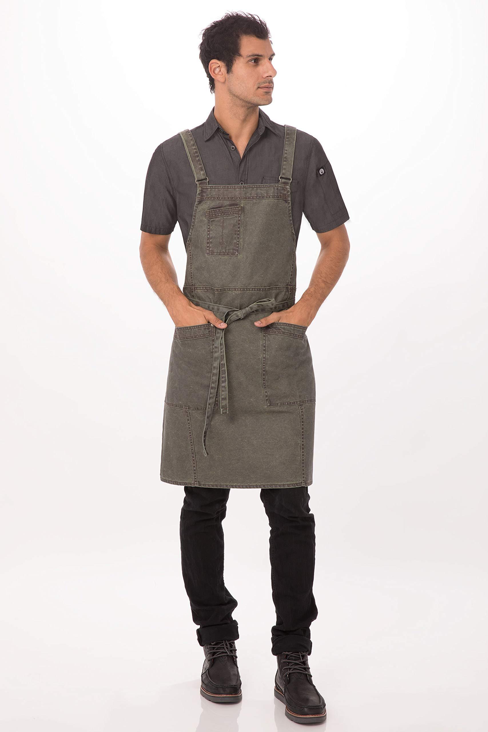 Chef Works Denver Cross-Back Bib Apron, Olive Wood, One Size by Chef Works