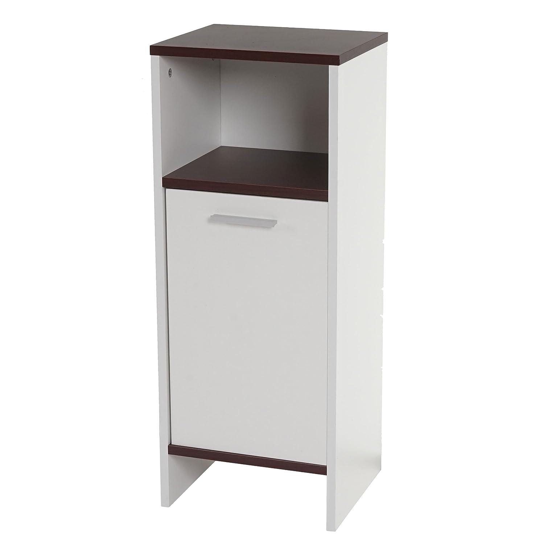 Cómoda Arezzo, cómoda/armario de baño, cómoda ~ 82 x 32 x 28 cm ~ blanco, suelos castañas: Amazon.es: Hogar