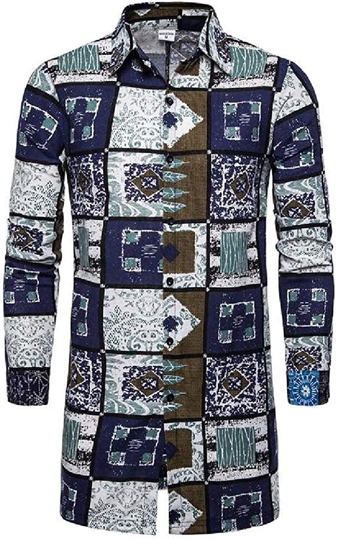 UUYUK Men Loose Fit Casual African Print Long Sleeve Mid Length Button Down Shirt