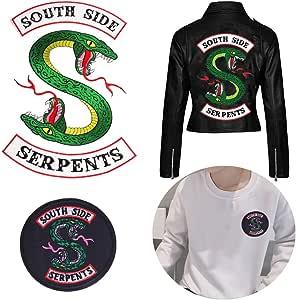 Southside Serpents - Parches de serpientes de 3 piezas grandes y 1 parche de serpientes de Southside con logo pequeño para planchar o coser, parches decorativos bordados para chaquetas, sudaderas, camisetas, mochilas,