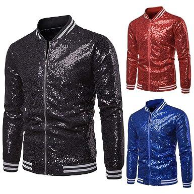 e4b5f9cf3 Mens Sequin Jacket Zip Up Baseball Varsity Bomber Sparkle Metallic  Nightclub Disco Jacket (S,