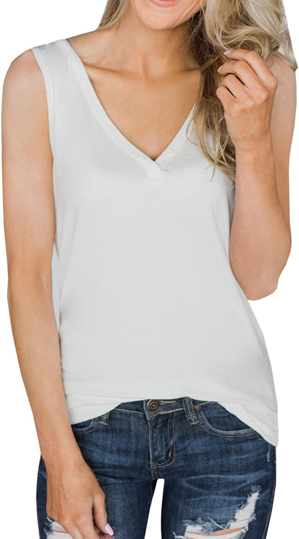 Dellytop Womens V Neck Tank Tops Sleeveless Henley Shirts Button Up Ribbed Long Tunic Tees