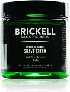 Brickell Men's Smooth Brushless Shave Cream for Men, Natural and Organic Smooth Shaving Lotion to Fight Nicks, Cuts and Razor Burn, 5 Ounce, Scented