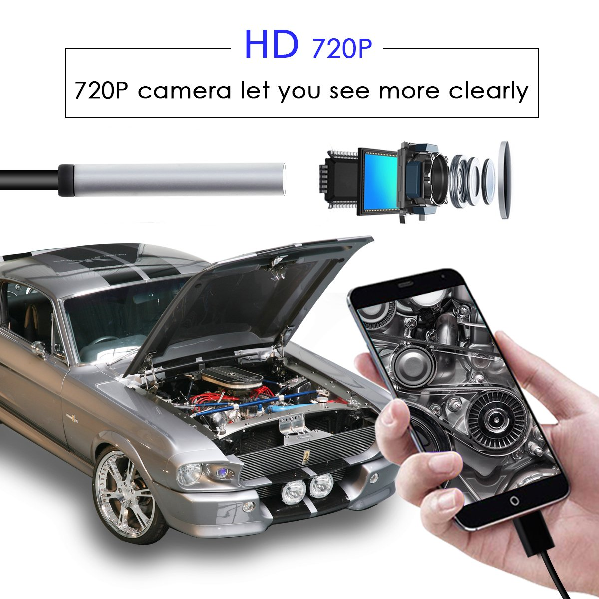HD 5.5mm5M Endoscope Shekar 2 M/égapixels Semi Rigide Android Endoscope 3 en 1 USB//Micro USB//Type-C Borescope Cam/éra dinspection /étanche pour Smartphone Tablet avec OTG et UVC fonction