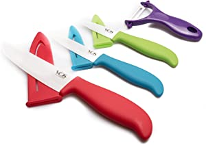 Ceramic Knife Set - 7 Pcs Chef Kitchen Chef's Paring and Utility Knives - Elegant Box - Cookbook By Vos