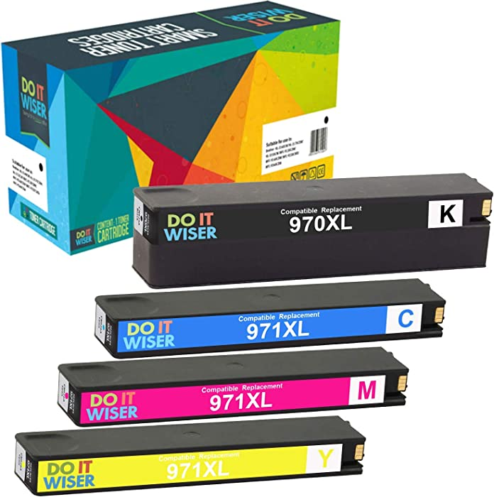 Do it Wiser Compatible Ink Cartridge Replacement for HP 970XL 971XL 970 XL 971 XL for HP Officejet Pro X476dw X576dw X476dn X451dw X551dw X451dn Printer (Black Cyan Magenta Yellow, 4-Pack)