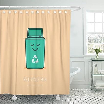 Emvency Shower Curtain Green Recycle Bin Cartoon Cute Character In Kawaii Linework Waterproof Polyester Fabric 72